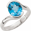 Sterling Silver 10x8mm Checkerboard Swiss Blue Topaz Ring