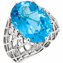14KT White Gold Swiss Blue Topaz Nest Design Ring