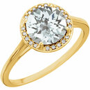 14KT Yellow Gold White Topaz and .05Carat Total Weight Diamond Ring