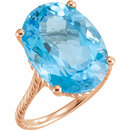 14KT Rose Gold 18x13mm Swiss Blue Topaz Rope Ring