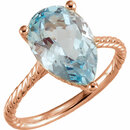 14KT Rose Gold Sky Blue Topaz Rope Ring
