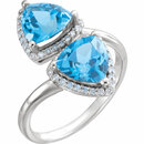 Platinum Swiss Blue Topaz & 1/5 Carat Total Weight Diamond Ring