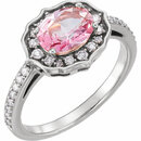 14KT White Gold Baby Pink Topaz & 1/3 Carat Total Weight Diamond Ring