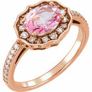 14KT Rose Gold Baby Pink Topaz & 1/3 Carat Total Weight Diamond Ring
