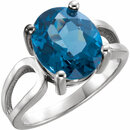 Platinum 12x10mm Oval London Blue Topaz Ring