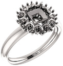Impressive Accented Mounting for Square Shape Centergem Sized 4.00 mm to 6.00 mm - Customize Metal, Accents or Gem Type