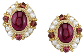 Traditional Style Hand Made 4.4ctw Oval Cabochon Pink Tourmaline Earrings in 18kt Yellow Gold - Tourmaline & Seed Pearl Bead Accents