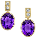Stunning Handmade 18kt Yellow Gold Post Back Dangle Bezel Set Oval Amethyst Earrings - 0.20ctw Diamond Accents