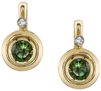 Modern Bezel Set 7.5mm Round Green Tourmaline Earrings with Diamond Accents - 18kt White Gold
