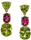 Super Colorful Peridot & Pink Tourmaline Handmade 18kt Yellow Gold Dangle Earrings