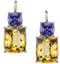 Great Color Combo Cushion Yellow Beryl & Cushion Tanzanite Gem Leverback Earrings in 18kt Yellow Gold