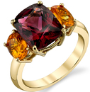 Stunning 18kt Yellow Gold 3-Stone Ring - 5.67ct Cushion Red Garnet & 1.98ct Oval Yellow Sapphires