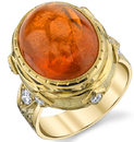 Exceptional Hand Made Bezel Set Cabochon Oval Shape 28.55ct Spessartite Garnet Ring in 18kt Yellow Gold - Diamond Accents