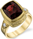 Lovely Hand Made Bezel Set Cushion Cut 11x9mm Pyrope Garnet Ring in 18kt Yellow Gold - Diamond Accents