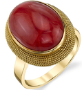 Bold 15x12mm Oxblood Coral Cabochon Ring With Intricate Rope Style 18kt Yellow Gold Detailing