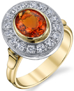 Exquisite 1.24ct Oval Mexican Fire Opal Designer Ring in 2-Tone 18kt Gold - 16 2mm Diamond Accents