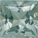 Fiery Greenish Tint Aquamarine Unheated Loose Gem in Princess German Cut, 9.0 mm, 3.31 carats