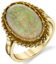 Vintage Style 18kt Yellow Gold Handmade 4.32ct Oval Opal Gemstone Ring