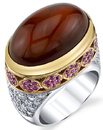 Super Gorgeous Mexican Fire Opal Cabochon Mound Ring in Tri-Color Gold - Pink Sapphire & Diamond Accents