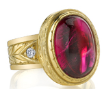 Gorgeous Hand Made Bezel Set 9.54ct Oval Pink Tourmaline18kt Yellow Gold Ring With Diamond Accents