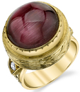 Attractive Hand Made Bezel Set 16.86ct Cat's Eye Tourmaline18kt Yellow Gold Ring With Diamond Accents