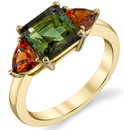 Colorful 18kt Yellow Gold 3-Stone Ring With Emerald Cut Green Tourmaline & Triangle Cut Garnets