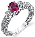 Elegant Hand Crafted 1.04ct Cushion Ruby 18kt White Gold Ring - 10 Diamond Accents