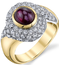 Gorgeous 2.80ct Cabochon Ruby 18kt White & Yellow Gold Ring With Pave Diamond Detail