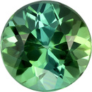 Round Fiery Cut Blue Green Tourmaline Loose Gem, Rich Blue Green Color in 6.0 mm, 0.97 carats