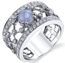 Gorgeous 1.58ct Round Blue Star Sapphire Right Hand Chunky Ring With Diamond Accents - 18kt White Gold