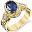 Stately Hand Carved 18kt Yellow Gold 1.68ct Oval Blue Sapphire Bezel Set Ring With Diamond Side Gems
