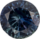 Pretty Blue Green Sapphire Loose Gem in Round Cut, Rich Greenish Blue, 7.7 mm, 2.13 carats