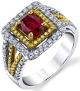 Stunning Red Spinel Gemstone Custom Ring Set With 2 Tone Gold & White and Yellow Pave Diamonds