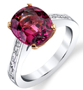 Custom Pink Spinel & Diamond Baguette Ring, 4.84ct Oval Cut Spinel Solitaire Ring in 18kt White Gold - Diamond Baguettes in Band