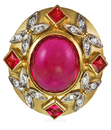 Rubelite Tourmaline Cabachon Bezel set Ring with Princess Red Spinels & Diamond Butterflies And Diamonds.  - SOLD