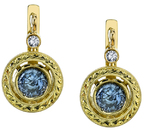 Hand Crafted 18kt Yellow Gold 2.15ctw Round Blue Sapphire Gemstone Earrings - Diamond Accents - SOLD