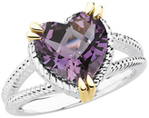 Sterling Silver & 14KT Yellow Gold Heart Amethyst Rope Design Ring
