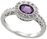 Horizontal Amethyst & Diamond Halo-Style Ring