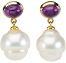 14KT Yellow Gold 7x5mm Amethyst & 11mm South Sea Cultured Pearl Earrings