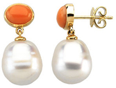 14KT White Gold 7x5mm Oval Coral Dangle Earrings