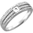 Dazzling 4-Band Micro Melee Preset Shank for Peg Setting in 14kt White Gold - 1/4ctw Diamond Accents