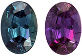 Exceptional Alexandrite Gemstone, Oval in Eggplant to Teal Color Change, 6.1 x 4.3 mm, 0.63 carats