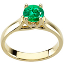 Gorgeous Green 1 carat Vibrant GEM 6mm Emerald Woven Prong Solitaire Engagement Ring - Bezel Set Diamond Accents