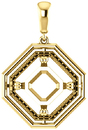 Solitaire Accented Pendant Mounting for Asscher Centergem Sized 5.00 mm to 10.00 mm - Customize Metal, Accents or Gem Type