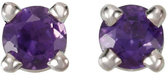 14KT White Gold 3mm Round Amethyst Friction Post Stud Earrings