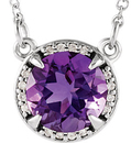 Sterling Silver Amethyst and .04 Carat Total Weight Diamond Necklace