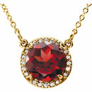 14 Karat Yellow Gold Mozambique Garnet and .04 Carat Total Weight Diamond Necklace