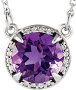 14 Karat White Gold Amethyst and .04 Carat Total Weight Diamond Necklace