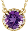 14 Karat Yellow Gold Amethyst and .04 Carat Total Weight Diamond Necklace