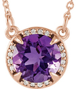 14 Karat Rose Gold Amethyst and .04 Carat Total Weight Diamond Necklace
